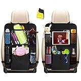 Auto Rückenlehnenschutz, Heyham 2 Stück Auto Rücksitz-Organizer für Kinder, Rücksitzschoner, Kick Matten Schutz für Autositz mit Durchsichtigem Große Taschen und iPad-Tablet-Halter