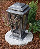 Garten Paradies Handmade Grabkerze Grablampe Grableuchte Grabdekoration Grablicht + Kerze Gratis