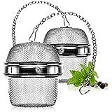 com-four® 2X Teesieb aus rostfreiem Edelstahl 304 - Teeei für losen Tee, Gewürze und Kräuter - feinmaschiger Teefilter mit Kette - Gewürzsieb zum mitkochen - Kräutersieb