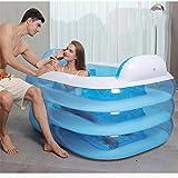 Doppel-aufblasbare Badewanne-Paar-Wanne-Wanne Erwachsene verdicken faltende Badewanne Plastikkinderbadewanne ( Design : Blue Foot pump , Size : 180*140*60 cm )