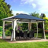 BRAST Alu-Pavillon Summerdream 3x4m beige festes Dach wasserdicht + Moskitonetz + LEDs 2 Farben 3 Größen 16 Modelle