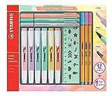 Stifte im Set - STABILO Pastell Collection - 12 Stifte in Pastellfarben - 6x Textmarker, 3x Filzschreiber, 3x Fineliner und 1x Schablonenlineal
