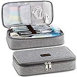 Homecube Mäppchen,große Kapazität Federmäppchen Stifthalter Praktische Studenten Schreibwaren mit zwei Reißverschlüssen Langlebig (Grau)