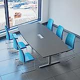 Weber Büro Easy Konferenztisch Bootsform 240x120 cm Anthrazit mit Elektrifizierung Besprechungstisch Tisch, Gestellfarbe:Silber