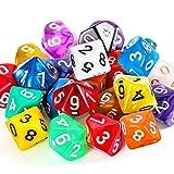 25 Stück Polyedrisch Würfel Set mit Schwarzem Beutel für DND RPG MTG und Andere Tisch Spiele mit Zufälligem Mehrfarbigem Sortiment(D10)