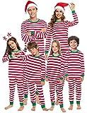 Aibrou Mutter Weihnachten gestreift Schlafanzug lang Rundhals Xmas Pullover Pyjama Set, Langarm Shirt und Pyjamahose Rot S