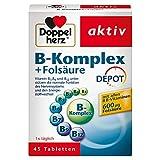 Doppelherz B-Komplex DEPOT mit Folsäure – B-Vitamine als Beitrag für die normale Funktion des Nervensystems und den normalen Energiestoffwechsel – 45 Tabletten