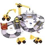 Autorennbahn Rennbahn ab 3 4 5 6 Jahre Junge Mädchen,Flexible Track Kran Pädagogisches Spielzeug Crane,161 Stück Autobahn für Kinder (161 Stück)