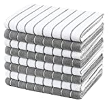 Gryeer 8er-Set Microfaser Geschirrtücher, weiche, super saugfähige und fussel freie Küchentücher, gestreift, 45 x 65 cm, Grau und Weiß