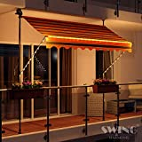 Swing & Harmonie LED - Markise mit Kurbel Klemmmarkise Balkonmarkise mit Beleuchtung und Solarmodul Fallarm Markise Sonnenschutz Terrasse Balkon (250x150, schwarz/orange)