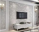 Tapete Blume 3D Geprägt Vliestapete esszimmer flur schlafzimmer Wohnzimmer TV Hintergrund Dekoration,Silber grau