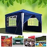 wolketon Pavillon Wasserdicht Gartenpavillon mit Seitenwände Polyethylen Bierzelt Tür mit Reisverschluss für Garten Party Hochzeit (3x3M, Blau)