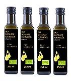 4 x 250 ml Flaschen BIO Schwarzkümmelöl 5-SeenLAND BLACKLABEL, DE Öko 006, kaltgepresst, gefiltert und 100 % naturrein.