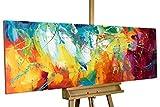 KunstLoft Acryl Gemälde 'Bright Future' 150x50cm | handgemalte Leinwand Bilder XXL | Abstrakte Kunst Pink Gelb Blau Regenbogen Küche Schlafzimmer | Wandbild Acrylbild einteilig mit Rahmen