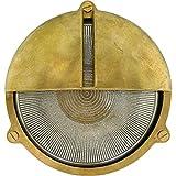 Brootzo ORBIS LED 10W Schiffslampe schiffsleuchten Gitterlampe Kellerlampe feuchtraumlampe aus Messing wasserdichte Leuchter Licht lampe rustikale Maritim Wandlampe Industrielicht.