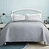 Bedsure Tagesdecke 200x220 grau Schlafzimmer- Bettüberwurf 200 x 220 cm für Bett, Wohndecke aus Mikrofaser mit Ultraschall genäht, als Steppdecke Sommer Komfort und Weich