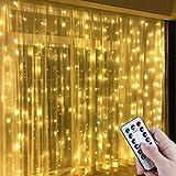 Anpro LED USB Lichtervorhang 3m x 3m, 300 LEDs USB Lichterkettenvorhang mit 8 Lichtmodelle für Partydekoration deko schlafzimmer, Innenbeleuchtung, Warmweiß