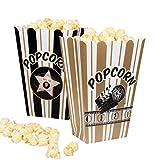 Boland 44210 - Popcornschüssel Hollywood, 4 Stück, Größe 19 x 13 cm, umweltfreundlich, Popcornbehälter, Süßigkeitenbox, Schale, Tüten, Schüssel, Einwegbehälter, Motto Party, Kindergeburtstag