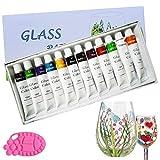 Magicdo 12 Farben Glasfarben mit Palette, professionelle Glasfarbe Set, hochwertige ungiftige Acrylfarbe für Glas, Multi-Surface Satin Glas Craft Paint Set, reiches Pigment (12 x 12ML)