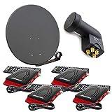 PremiumX digital 4 Teilnehmer SAT Anlage 80cm Antenne Anthrazit mit Quad LNB 0,1dB und 4X Satelliten Receiver DVB-S2 HDTV