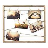 Cheers UG Bilderrahmen aus Holz 50 x 43 x 2,5 cm, Fotowand zum Anbringen von Fotos, Postkarten UVM, Fotorahmen/Collage mit Stabiler Rückwand, inkl. Naturseil & 10 Klammern