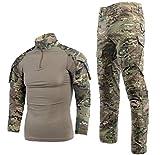 Taktischer Anzug für Herren, Kampf-Hemd und -Hose, Langarm, Ripstop, MultiCam, für Airsoft, Wald, Jagd, Militär, BDU, Uniform Gr. S, CP