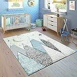 Paco Home Kinderteppich Kinderzimmer Pastell Blau Grau Berg Mond Sterne Strapazierfähig, Grösse:120x170 cm