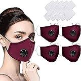4Stück Mundschutz Maske Schutzmaske Multifunktionstuch Mund und Nasenschutz Waschbar Staubschutzmaske Wiederverwendbar Atmungsaktiv Mundschutz Winddicht Unisex Halstuch - Mit 10 Aktivkohlefiltern