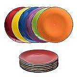 esto24 6er Set große Speiseteller Porzellan Geschirr in tollen Farben für Ihre liebsten Speisen (Teller Bunt)