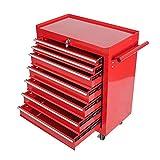 Hengda Werkstattwagen 7 Fächer Werkzeugwagen rot Abschließbar kugelgelagert