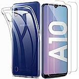 iLieber kompatibel mit Samsung Galaxy A10 Hülle+ Panzerglas Set, [1 Schutzhülle + 2 Schutzfolie] Handyhülle [Ultra Dünn] 9H Displayschutzfolie TPU Silikon Case Cover für Samsung Galaxy A10