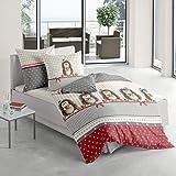 Traumschlaf Biber Bettwäsche Weihnachtsigel 1 Bettbezug 135x200 cm + 1 Kissenbezug 80x80 cm