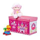 Relaxdays Sitzbox Kinder, Faltbare Aufbewahrungsbox mit Stauraum, Deckel, Prinzessin & Fee, 50 Liter, platzsparend, pink, H x B x T: ca. 36 x 60,5 x 30,5 cm