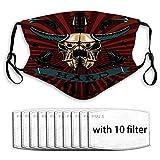 Wiederverwendbarer waschbarer Mundschutz Shield Scraf Hard Rock Bull Skull Grunge Style