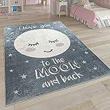 Paco Home Kinderteppich, Waschbarer Kinderzimmer Teppich m. Stern, Mond u. Karo Motiven, Grösse:120x160 cm, Farbe:Grau 2