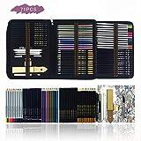 Buntstifte Set,70 Stück Professional Farbstifte Bleistifte Skizzierstifte Set Skizzieren und Zeichnen Professionelle Art Set mit Kit Bag