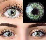 GLAMLENS Keira Green Grün + Behälter | Sehr stark deckende natürliche grüne Kontaktlinsen farbig | farbige Monatslinsen aus Silikon Hydrogel | 1 Paar (2 Stück) | DIA 14.20 | Ohne Stärke