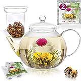 Teabloom Set Glas-Teekanne & Gläsernes Teeei - für 6-8 Tassen - am Besten für lose Teeblätter oder Blütentee - 2 Teeblumen enthalten (1200 ml Teekanne)