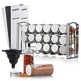 TASTRA® Gewürzregal mit 18 Gewürzgläsern - hochwertige Gewürzaufbewahrung- Gewürzständer inkl. Gewürzetiketten+ verschiedene Streueinsätze+Trichter