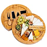 BlauKe Käsebrett mit Käsemessern - Runde Käseplatte aus Holz mit 4 Messern
