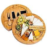 Käsebrett mit Käsemessern - Runde Käseplatte aus Holz mit 4 Messern - BlauKe
