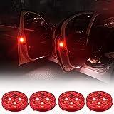 Autotür Warnleuchten, Orbeor LED Sicherheitsleuchten Geöffnet mit Roter Blitz blinkt Magnetisch Wasserdicht Kabellos Antikollisions Sicherheitswarnleuchten Auto Ein / Aus(4 Packung)