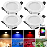 Bluetooth Mesh 5W Dimmbar LED Einbaustrahler RGBWC Deckenleuchte Lampe, Deckeneinbauleuchte für Bad, Wohnzimmer, Küche, ktv, Bars 4er set