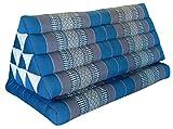 Wilai Kapok Thaikissen, Yogakissen, Massagekissen, Kopfkissen, Tantrakissen, Sitzkissen - Blau/Grau (Kissen mit Einer Auflage XXL 79x39x46 (81916))
