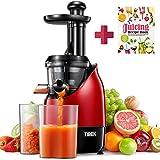 Entsafter Slow Juicer, TIBEK Entsafter Gemüse und Obst Profi, Ruhiger Motor mit Umkehrfunktion, 2 Saftbehälter und Rezepte für Gemüse und Früchte, Reinigungsbürste(200 W/Rot)