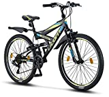 Licorne Bike Strong V 26 Zoll Mountainbike Fully, MTB, geignet ab 150 cm, V Bremse vorne und hinten, Shimano 21 Gang-Schaltung, Vollfederung, Jungen-Herren Fahrrad (Schwarz/Blau/Lime, 26)