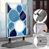 Kundenstopper DIN A1 Mobil - Alu Rahmen und 2 Folien Doppelseitig, mit Wasser befüllbar, in Silber - Wetterfester Plakatständer, Gehwegaufsteller, Standfuß Tafel