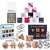 BOXX 24 Stück Knobelspiele Set: 10 Labyrinth, 8 Puzzle aus Holz, 6 aus Metall, Knobeleien Set Interessanter Zeitvertreib Kleines Geschenk für ältere Kinder, Jugendliche, Erwachsene