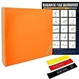 CCLIFE Balance Pad 50x40x6 mit Latexbänder Übungsposter Balanceboards Gleichgewicht Trainer Widerstandband Fitnessbänder, Balance Kissen für effektives Balancetraining