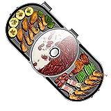ZHHWYP Innengrill, elektrischer Teppanyaki-Tischgrill, einfache Reinigung der Kochfläche und einstellbare Temperatur, geeignet für 4-6 Personen, Grill-Kochplatte, schwarz
